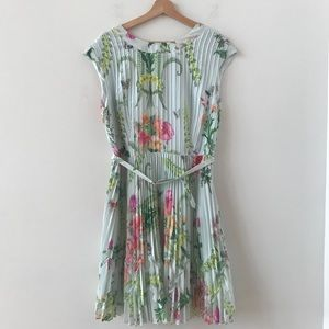 Ted Baker floral dress with pleats